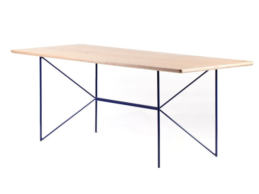 Rectangular steel and wood table BUTTERPLY by MALHERBE EDITION