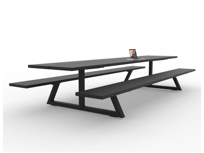 Rectangular picnic table with integrated benches BUZZIBREEZE by BuzziSpace