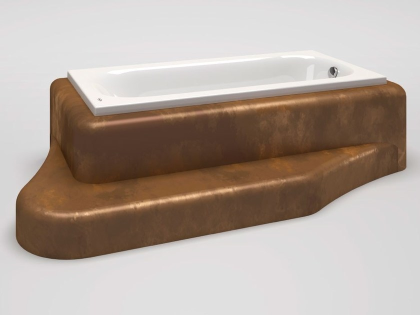 EPS coating of bathtub panels with integrated step Bathtub with integrated step by La Veneta Forme