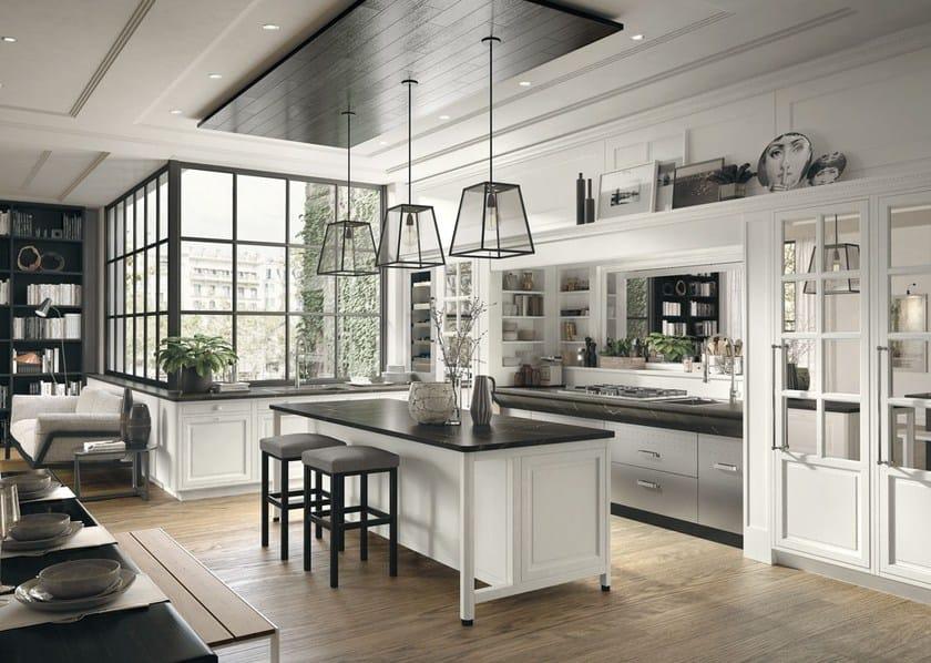 Cucina componibile in stile moderno con isola con maniglie Bellagio ...