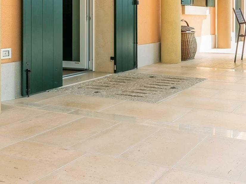 Outdoor floor tiles with stone effect Benacus® TRAVERTINO by FERRARI BK