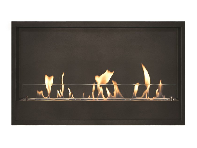 Built-in bioethanol vent free metal fireplace Black metallic box XL by BRITISH FIRES
