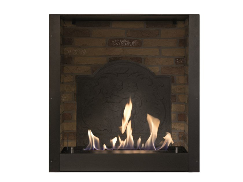 Built-in bioethanol vent free other materials fireplace Brick effect box with plate by BRITISH FIRES
