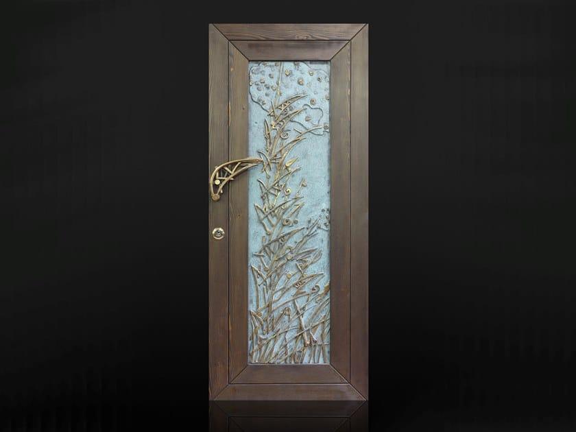 Wood veneer safety door Brass entry door by Ercole