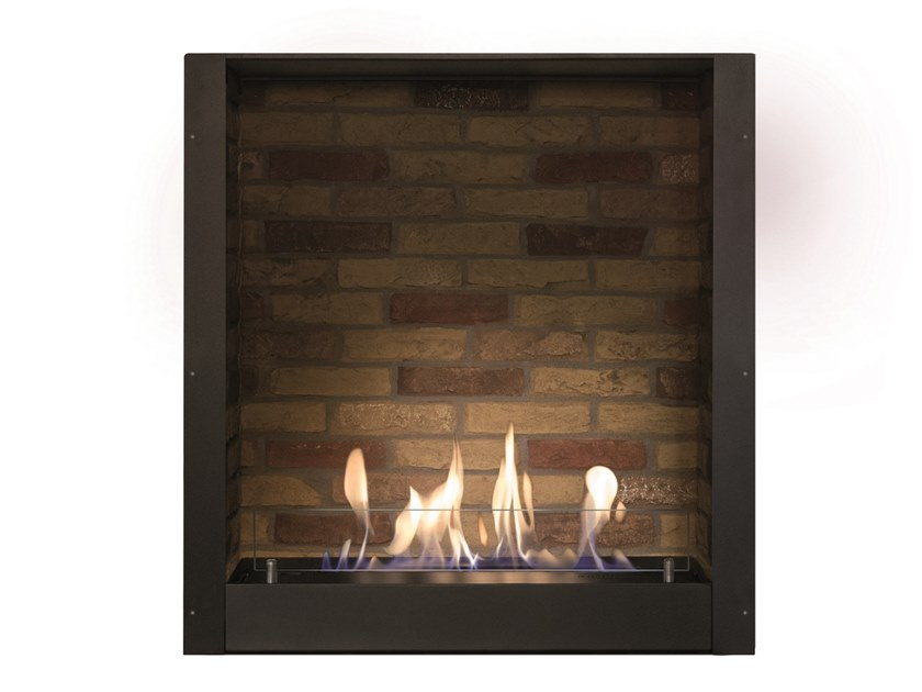 Bioethanol wall-mounted vent free metal fireplace Brick effect box by BRITISH FIRES