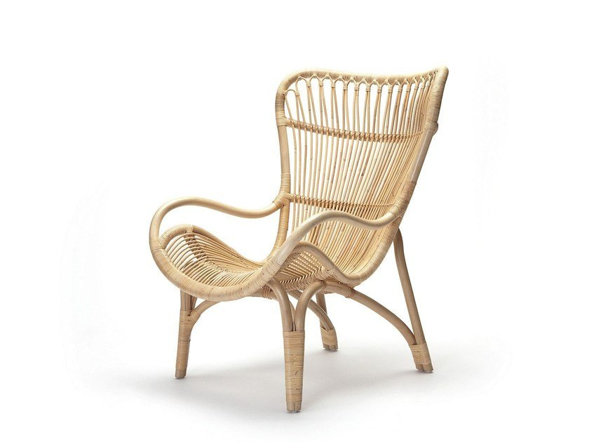 Poltrona in rattan con braccioli C110 HIGHBACK by Feelgood Designs
