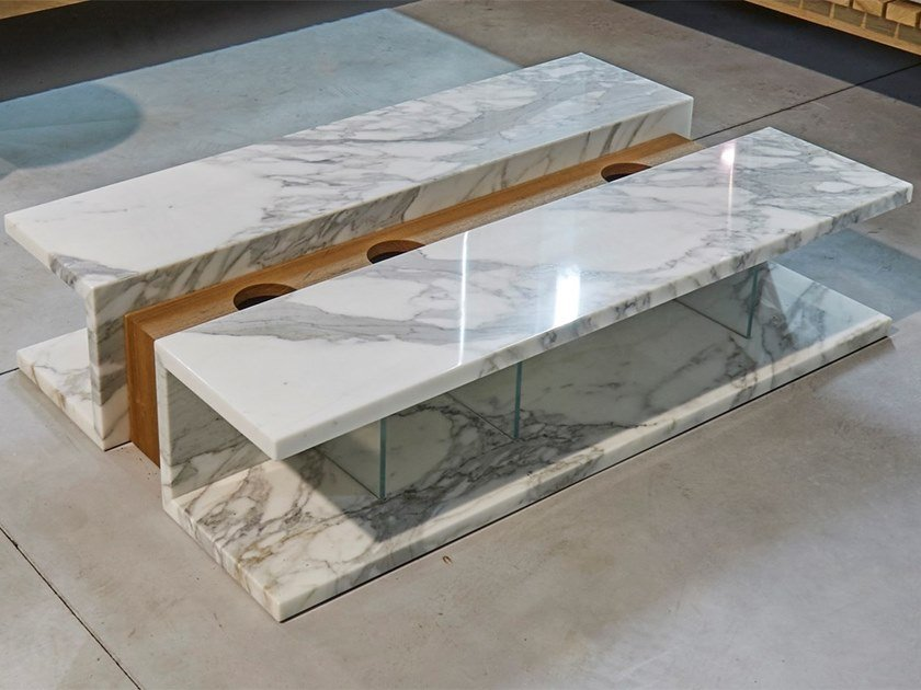 Low rectangular marble coffee table C2 by FranchiUmbertoMarmi