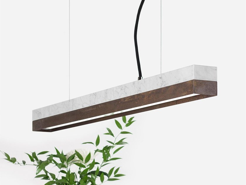 Dimmable LED pendant light (L 92cm) [C2m] CARRARA CORTEN STEEL by GANTlights