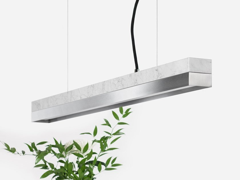 Dimmable LED pendant light (L 92cm) [C2m] CARRARA STAINLESS STEEL by GANTlights