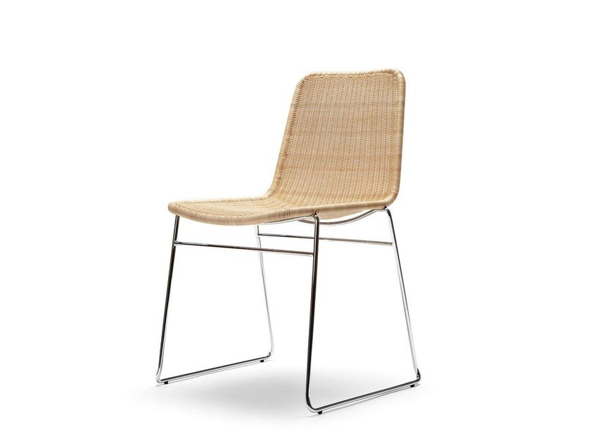 Sled base stackable rattan chair C607 | Chair by Feelgood Designs