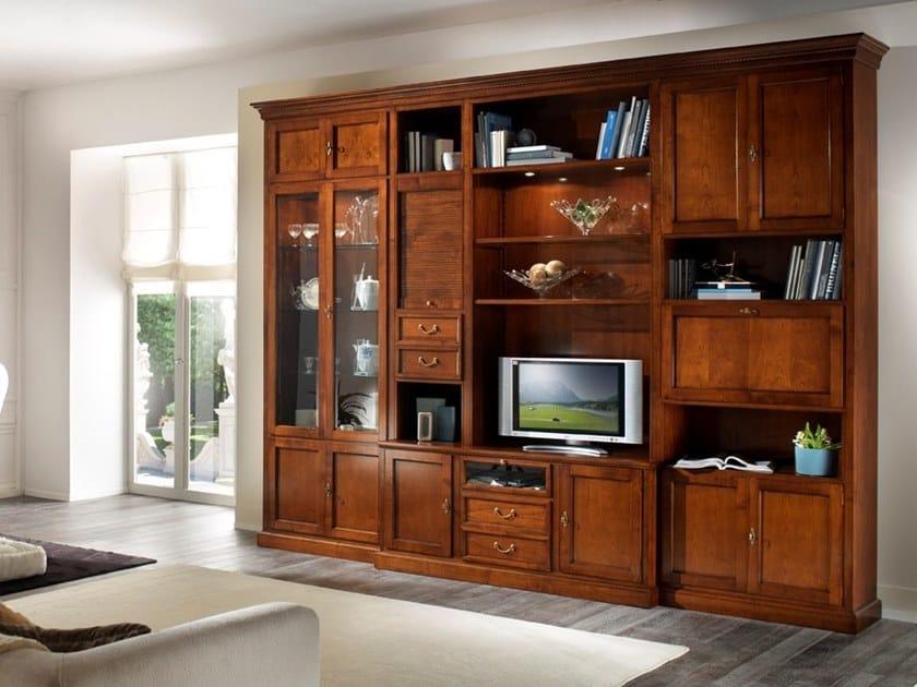 Sectional TV wall system CA' REZZONICO | Storage wall by MOLETTA