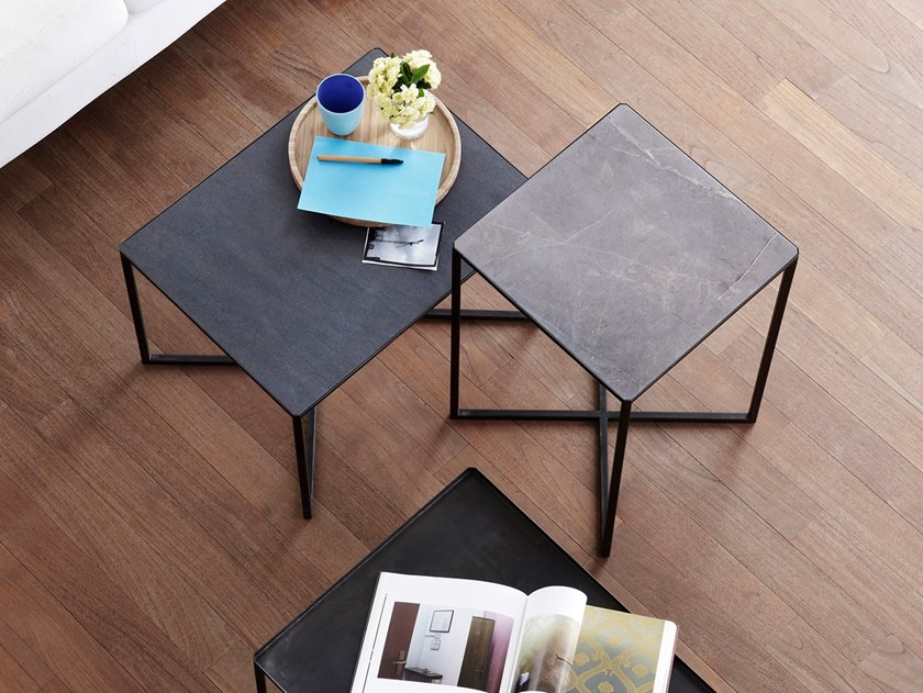 Sled base stone coffee table CABARET by Capo d'Opera