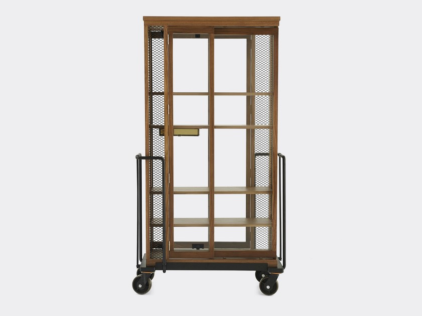 Walnut display cabinet with casters CABINET OF CURIOSITY by STELLAR WORKS