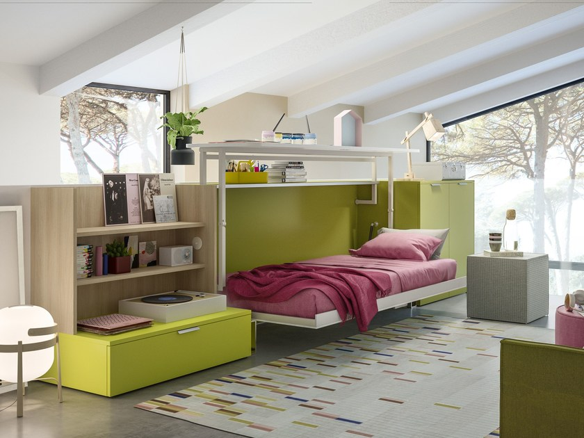 Wooden bedroom set with pull-out bed CABRIO IN by CLEI