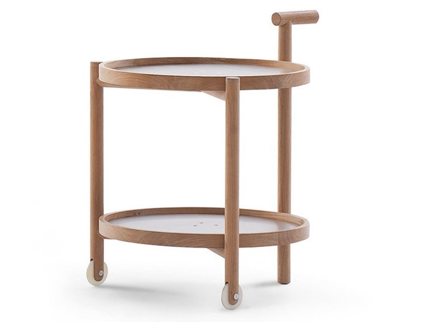 Table roulante de jardin en acier inoxydable et bois CADDY by RODA