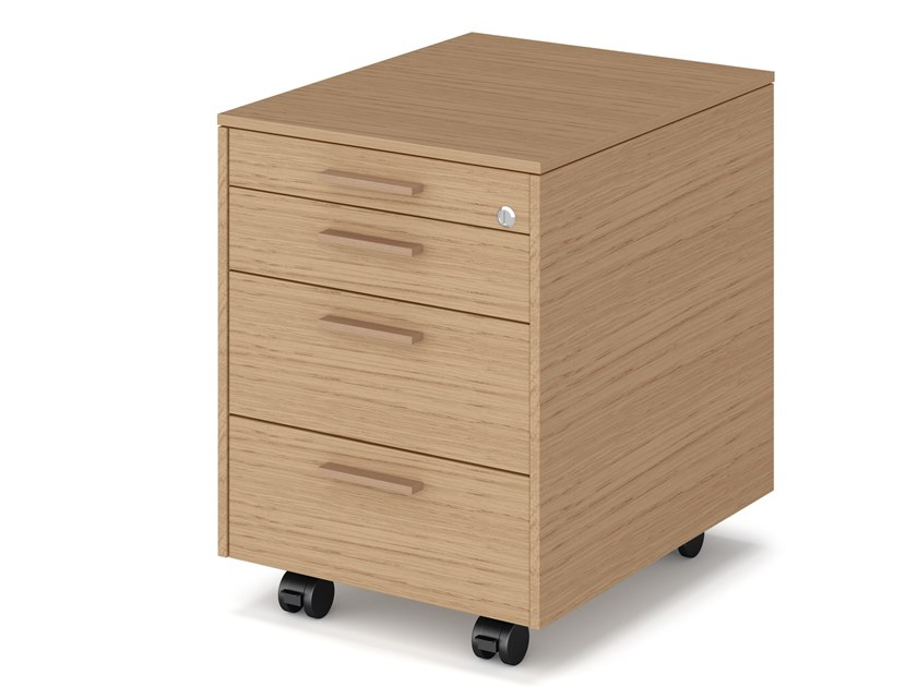 Cassettiera ufficio in legno con ruote e serratura CADI.EX | Cassettiera ufficio by Bralco