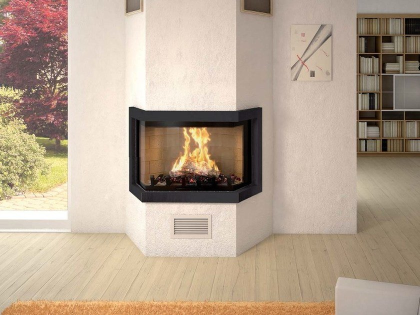 Steel Fireplace Mantel CADRE DESIGN (PRISME) by Axis