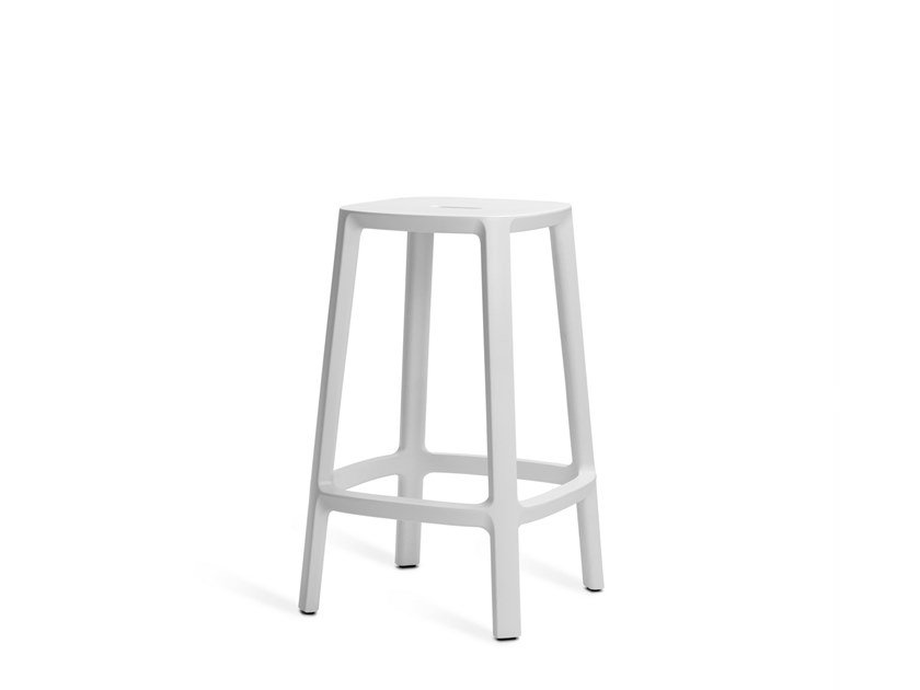 Upholstered stool with footrest CADREA | Stool by TOOU