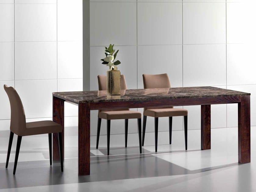 Rectangular Dark Emperador marble table CAFEAULAIT by International Marmi