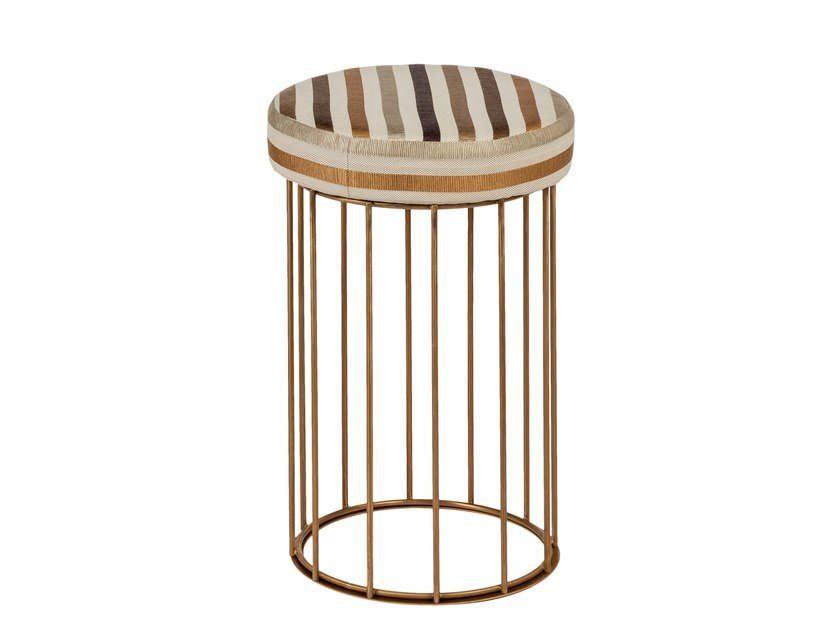 Upholstered round brass pouf CAGE 08 by Il Bronzetto