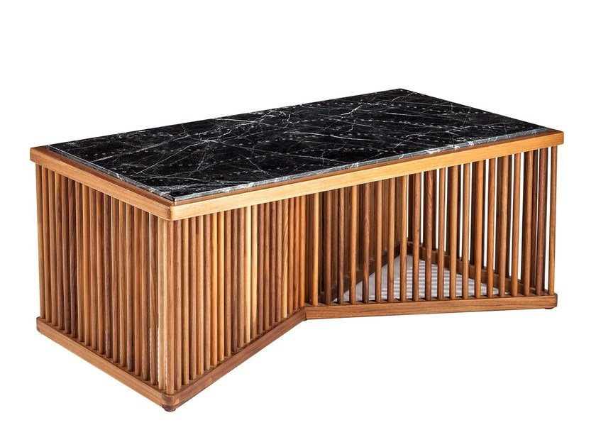 Rectangular marble coffee table CAGE by KONTRA