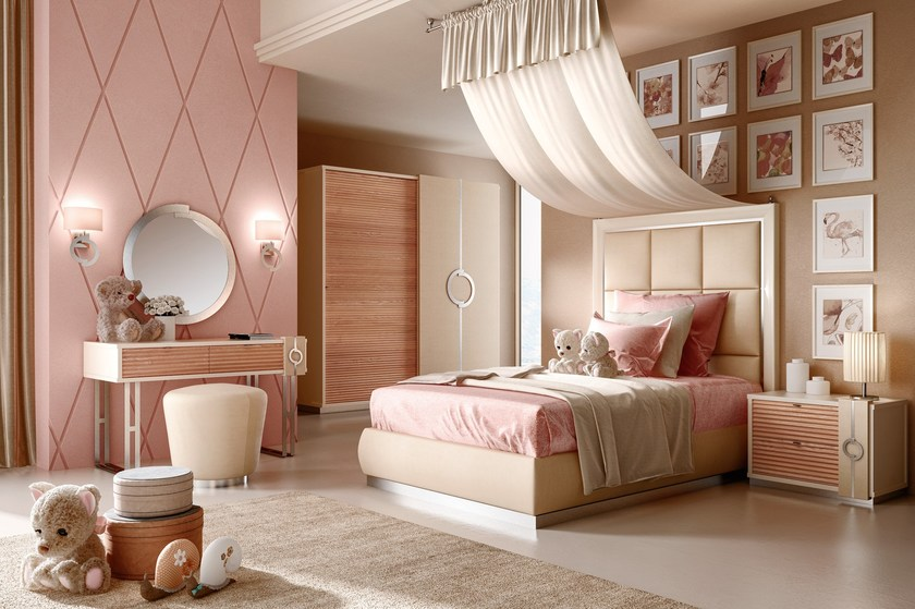 Contemporary style wooden bedroom set