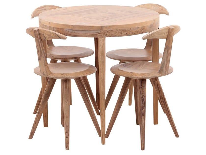 Round teak table CAKKAL by ALANKARAM