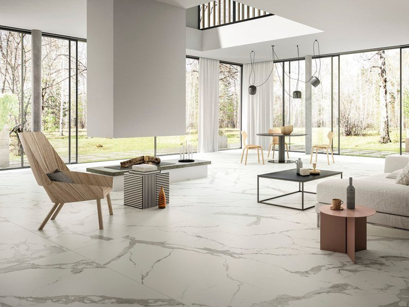 Porcelain stoneware wall/floor tiles with marble effect CALACATTA LIGHT by GranitiFiandre