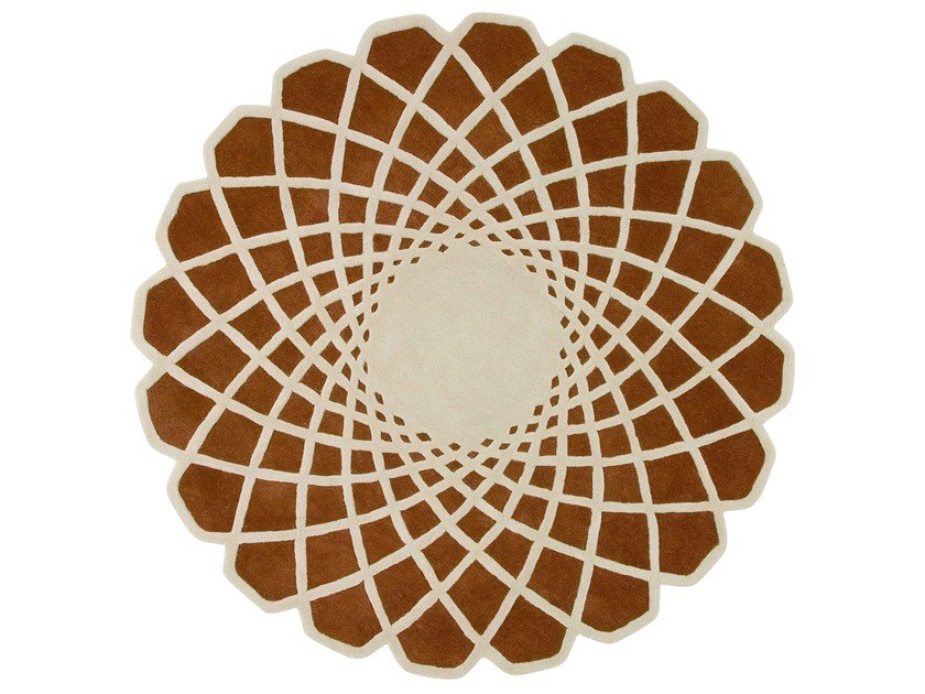 Round wool rug with geometric shapes CALEIDO by GAN