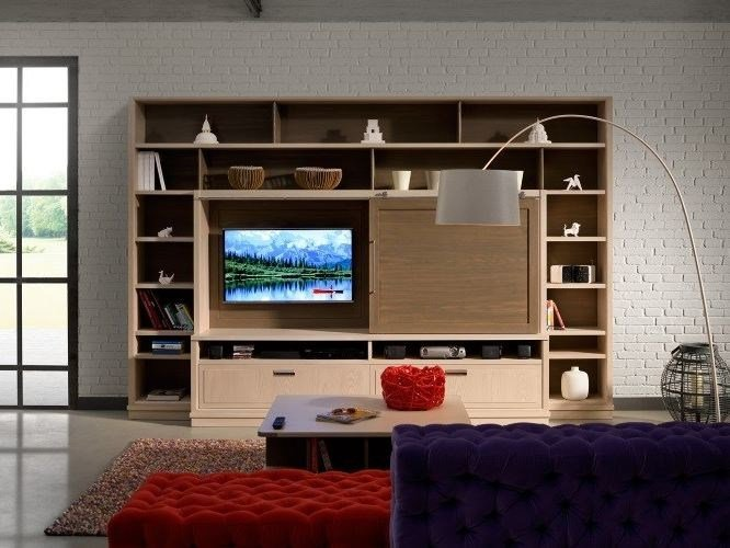 Freestanding wooden TV wall system CALENDARIO INDUSTRIAL CHIC by L'Ottocento