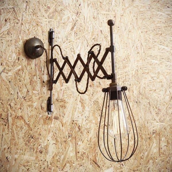 Direct light handmade adjustable wall lamp CALIS SCISSOR ARM CAGE LIGHT by Mullan Lighting