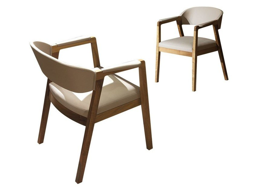 Upholstered leather chair with armrests CALISTO by Mobi
