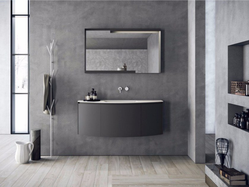 Wall-mounted resin vanity unit with drawers with mirror CALIX - COMPOSITION A03 by NOVELLO