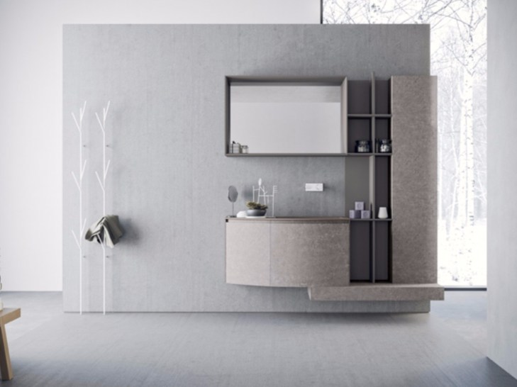Wall-mounted HPL vanity unit with drawers with mirror CALIX - COMPOSITION A10 by NOVELLO