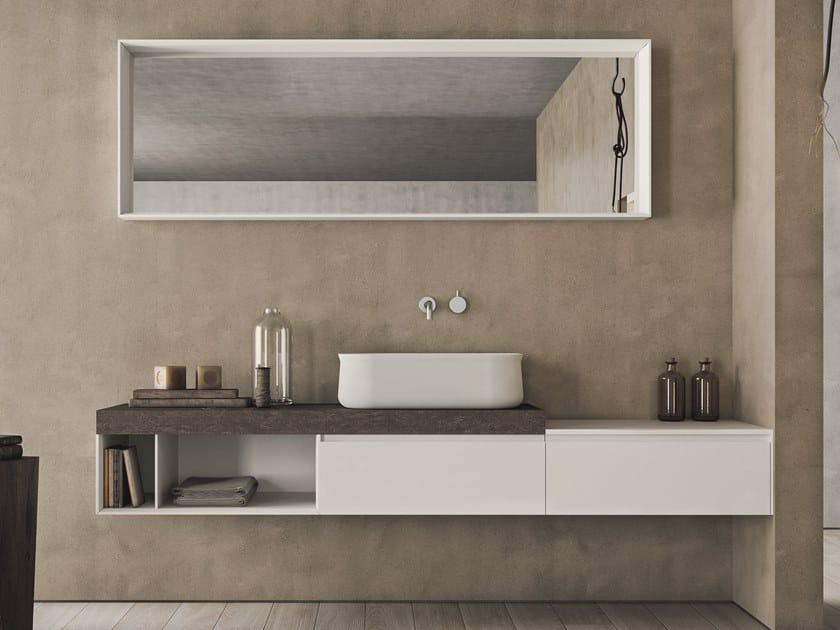 Mobile lavabo in HPL con cassetti con specchio CALIX - COMPOSIZIONE XL 04 by NOVELLO