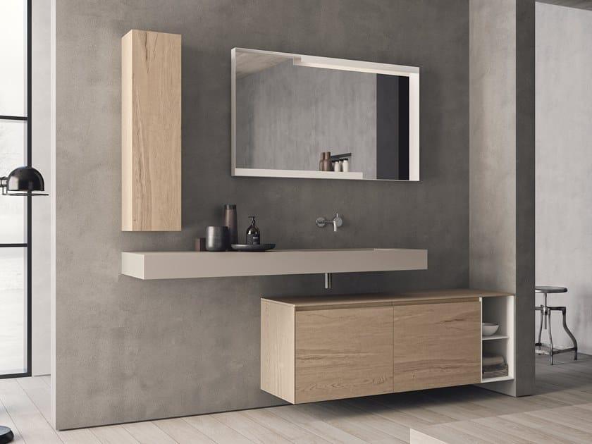 Mobile lavabo sospeso in HPL con ante con specchio CALIX - COMPOSIZIONE XL 09 by NOVELLO