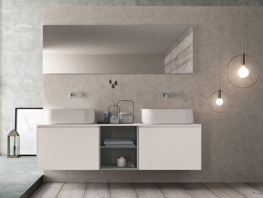 Mobile lavabo doppio sospeso in HPL con specchio CALIX - COMPOSIZIONE XL 05 by NOVELLO