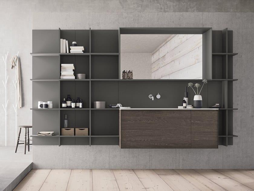 Mobile lavabo sospeso in HPL con cassetti con specchio CALIX - COMPOSIZIONE XL12 by NOVELLO