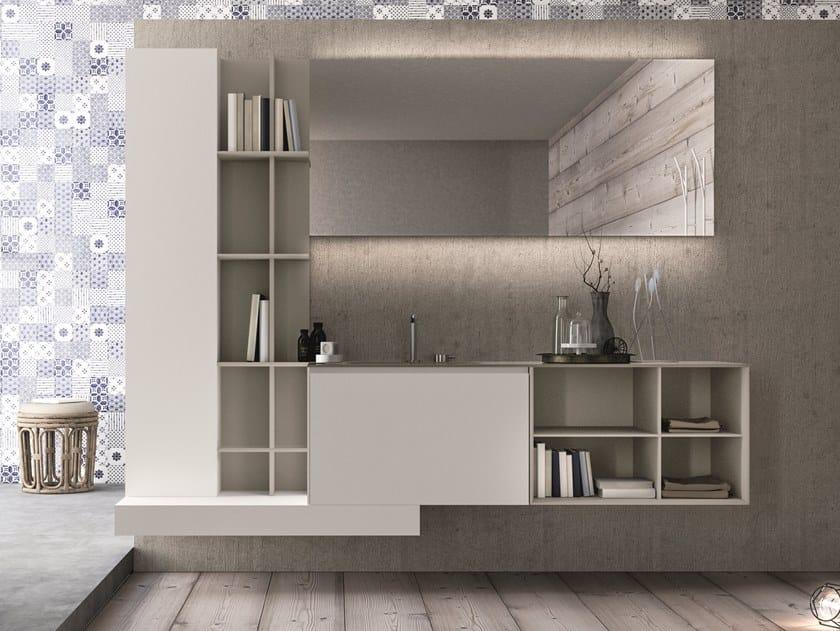 Mobile lavabo sospeso in HPL con cassetti con specchio CALIX - COMPOSIZIONE XL 15 by NOVELLO