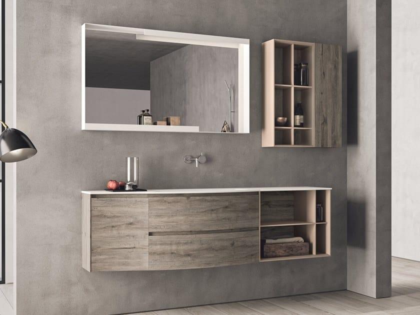 Mobile lavabo in HPL con ante con cassetti con specchio CALIX - COMPOSIZIONE XL 16 by NOVELLO