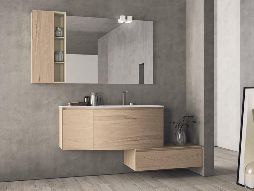 Mobile lavabo singolo in HPL con cassetti con specchio CALIX - COMPOSIZIONE XL 17 by NOVELLO