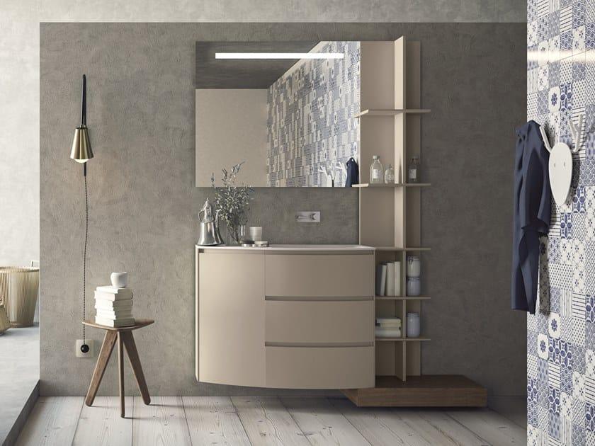 Mobile lavabo sospeso in HPL con cassetti con specchio CALIX - COMPOSIZIONE XL 18 by NOVELLO