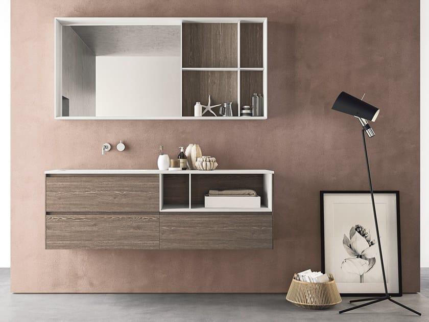 Mobile lavabo sospeso in HPL con cassetti con specchio CALIX - COMPOSIZIONE XL 19 by NOVELLO