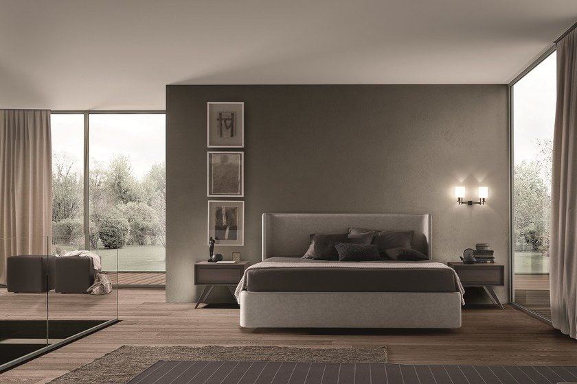 Upholstered leather double bed CALLAS by Presotto