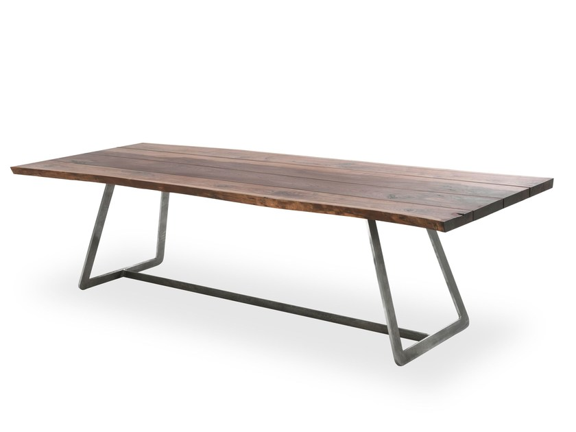 Rectangular solid wood and iron table CALLE CULT NATURAL SIDES by Riva 1920