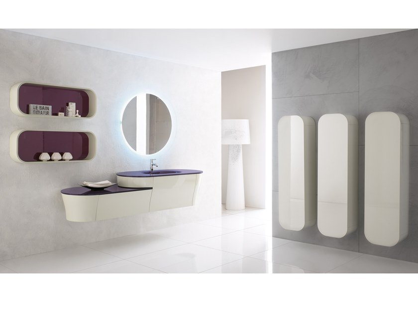 Wall-mounted vanity unit with mirror CALYPSO 01 by BMT