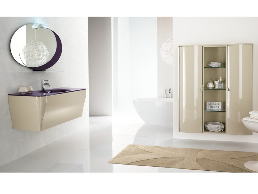 Wall-mounted vanity unit with mirror CALYPSO 05 by BMT