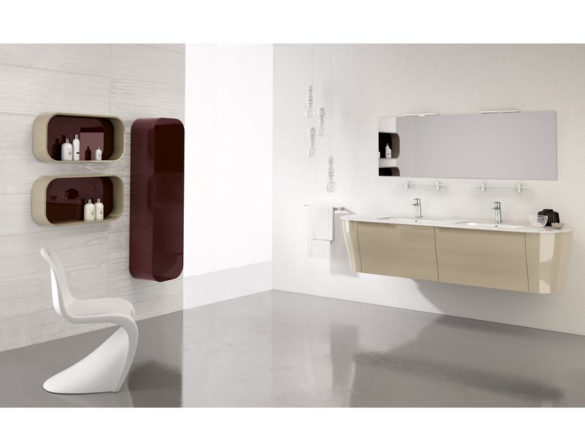 Double vanity unit with mirror CALYPSO 09 by BMT