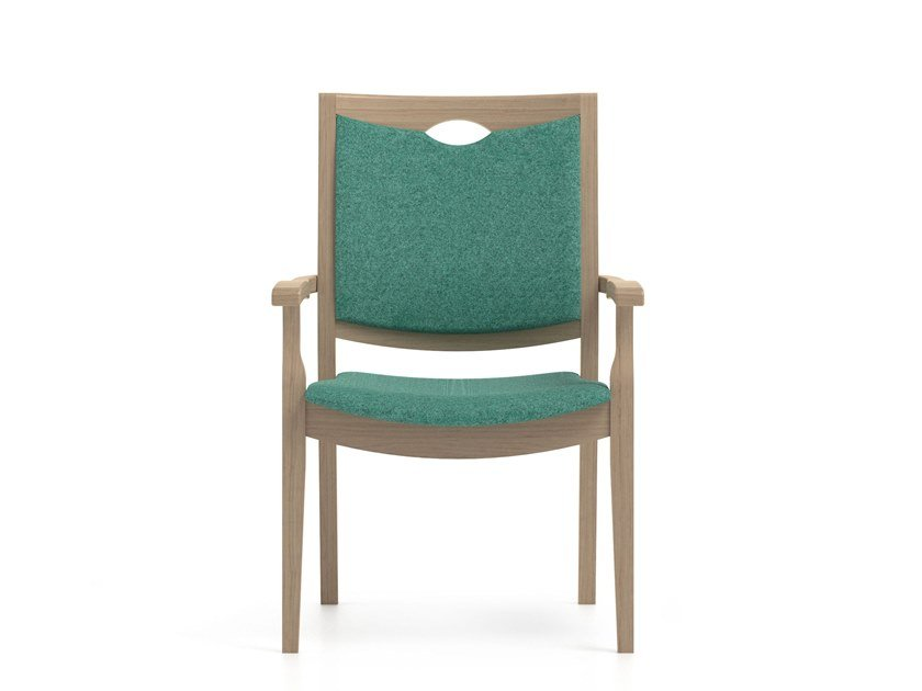 Stackable fabric chair with armrests CALYPSO | HEALTH & CARE | Stackable chair by PIAVAL