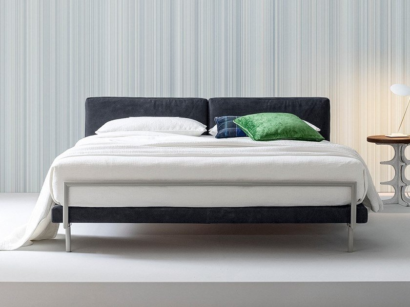 Double bed with upholstered headboard CAMALEO | Bed by Twils